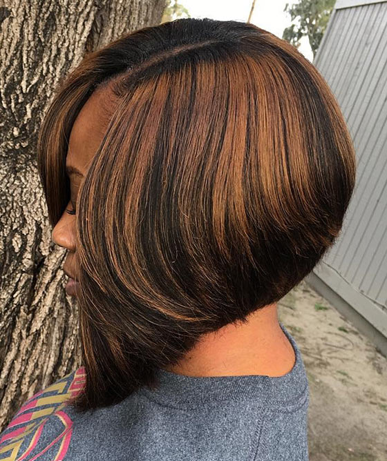 A-line Bob With Chocolate Brown Highlights