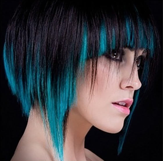 Black And Turquoise Ombre Round Bob
