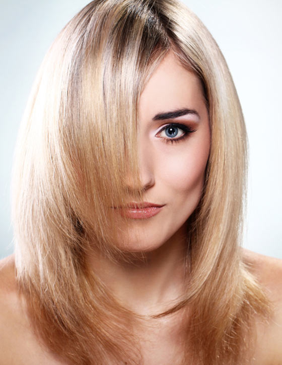 Blond Fine Layers With Bangs