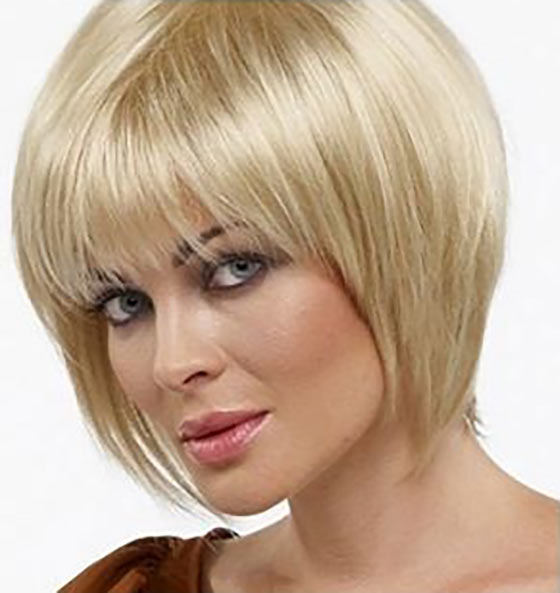 Blond Round Bob With Fringes