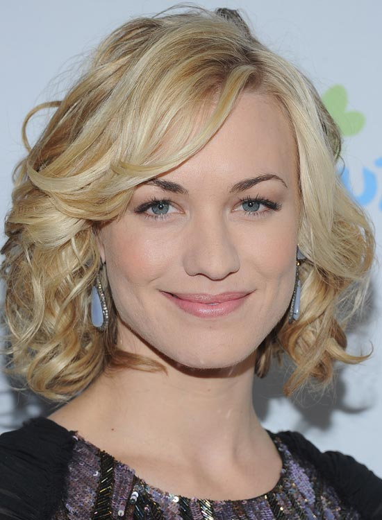 Blonde Curly Bob With Side-Swept Bang