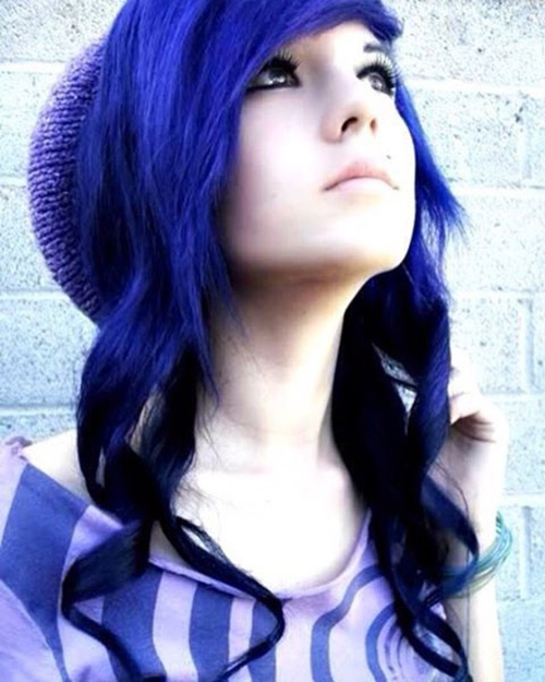 Blue Emo Hair With Curly Edges