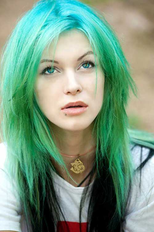 Blue-Green Ombre Emo Layers