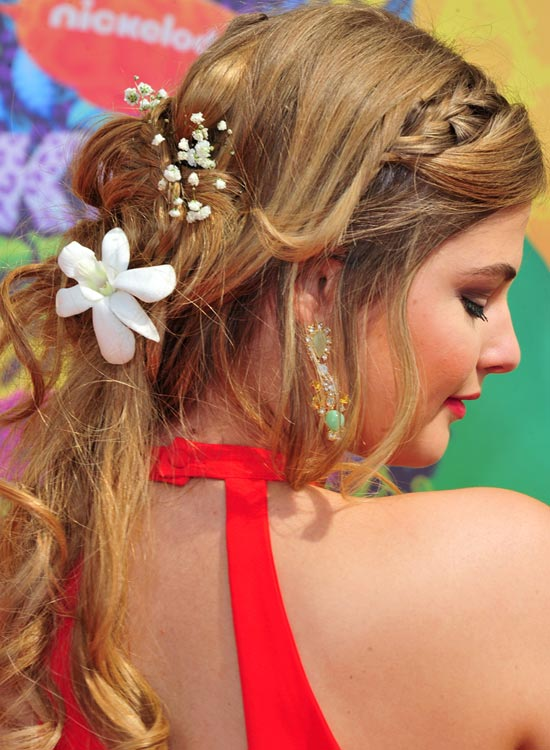 Braided Half Updo With Loose Curls