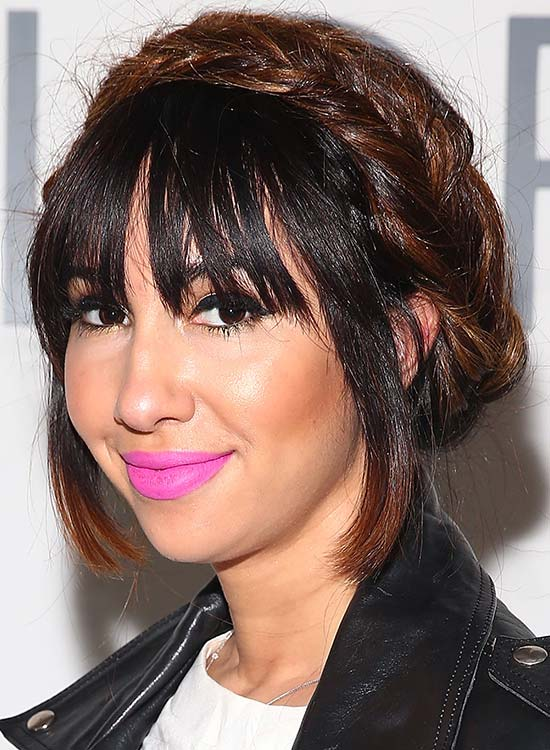 Braided Headband Updo With Fringes And Bangs