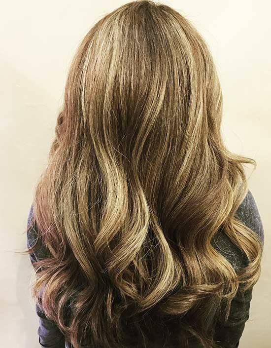 Caramel Highlights On Light Blonde