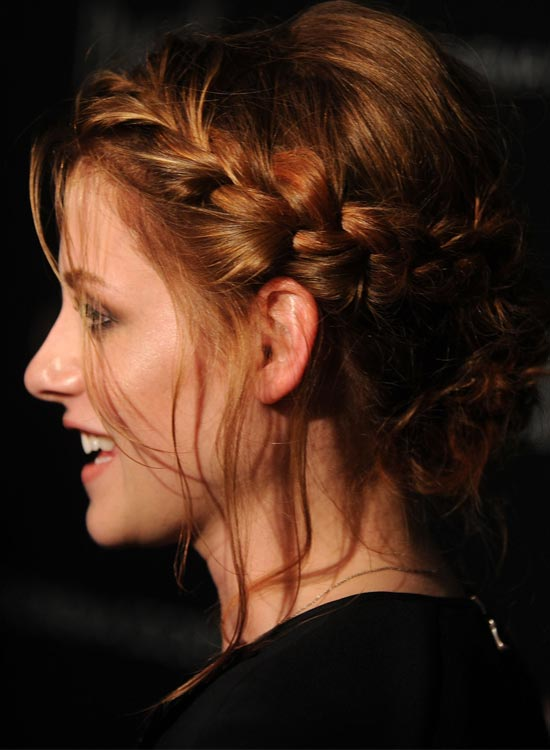 Casual Side Braided Bun With Multiple Side Bangs