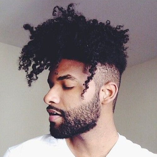 Curly Bangs Afro Hairstyles for Men