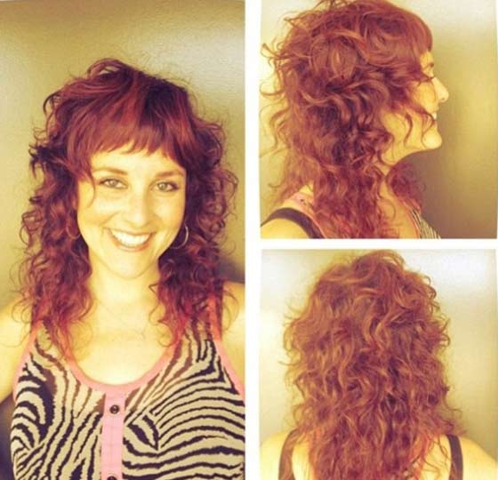 Curly Layers With Halfway Bangs