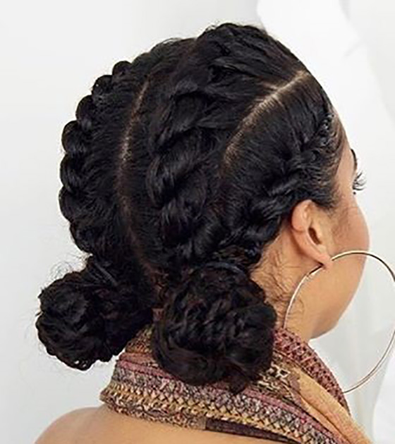 Cutesy Cornrow Double Buns
