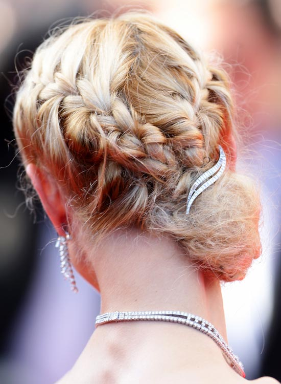 Double-Braided Low Side Bun With Brooch