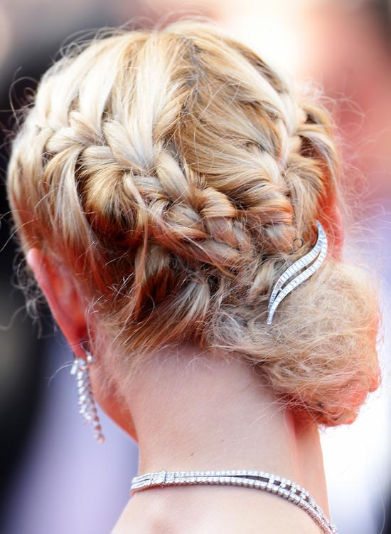 Double-Braided Low Side Bun with Hair Brooch
