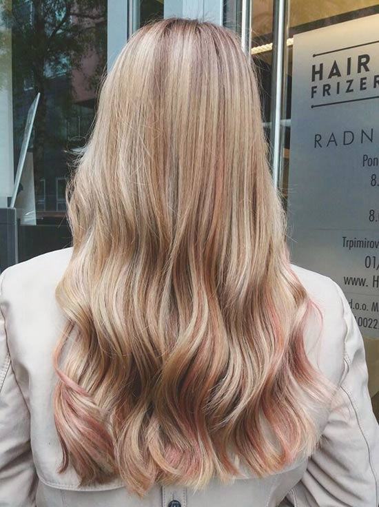 Dusty Pink And Caramel Highlights