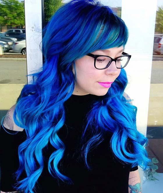 Electric Blue Curls And Side Swept Fringe