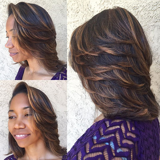 Feathered Highlights Layered Bob
