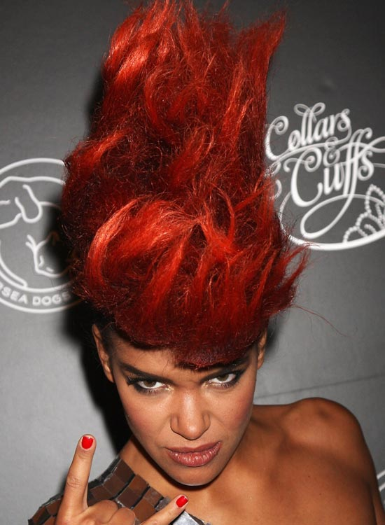 Fiery Red Mohawk with Wavy Wispy Hair