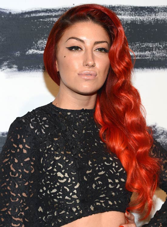 Flame Red Waves in a Side Part