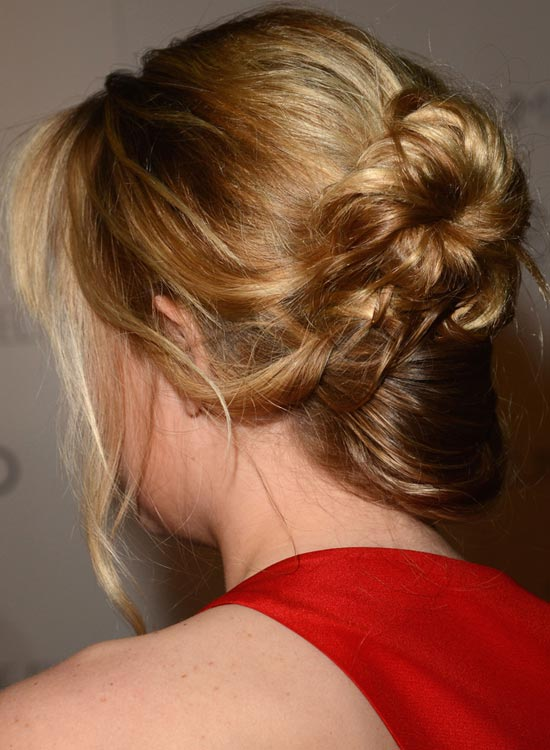 Flat Donut Bun with Side-Swept Bottom and Wavy Bangs