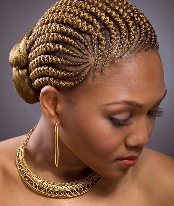 Golden Blonde Cornrows Bun