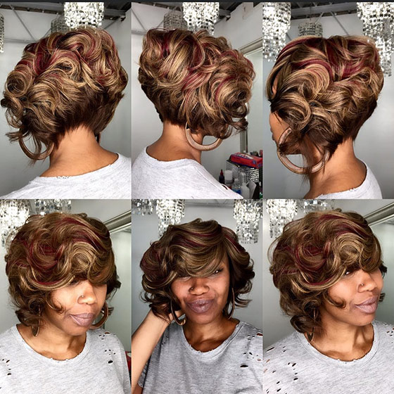 Golden Brown And Maroon Short Bob