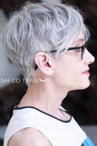 Grey Messy Pixie With Long Bang