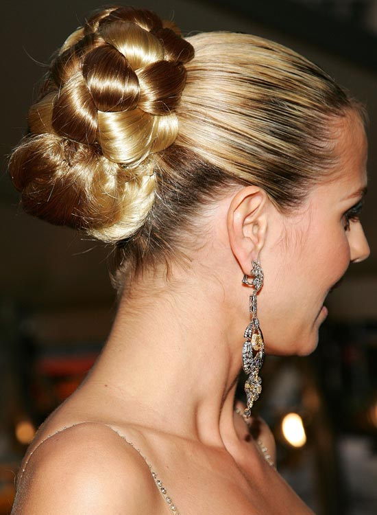 Half Braided Bun On Highlighted Blonde Hair