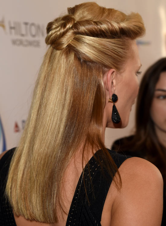 Half Up Hairdo with Rolled and Twisted Upper Bun