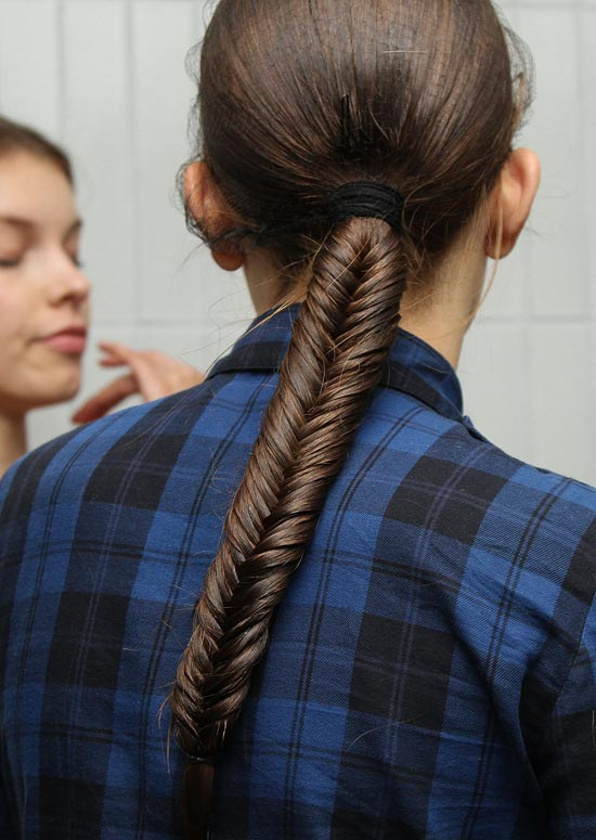 High Fishtail Braid With Hair Wrap