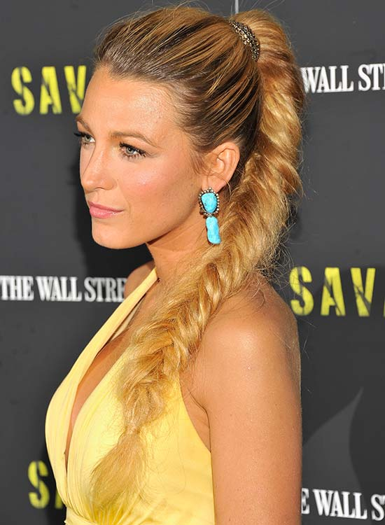 High Fishtail Braided Ponytail With Textured Top