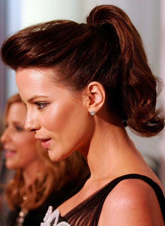 High Wavy Ponytail With Pompadour