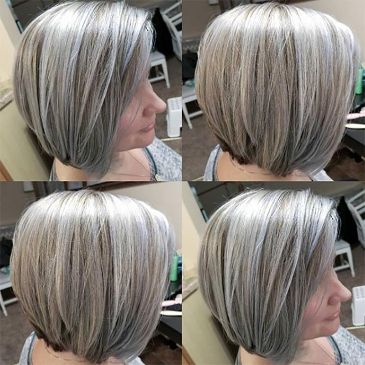 Highlighted Ash Blonde Stacked Bob