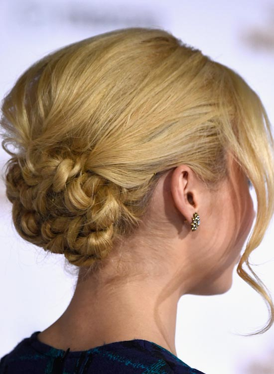 Highly Twisted Low Bun with Puffy Crown and Sexy Bang