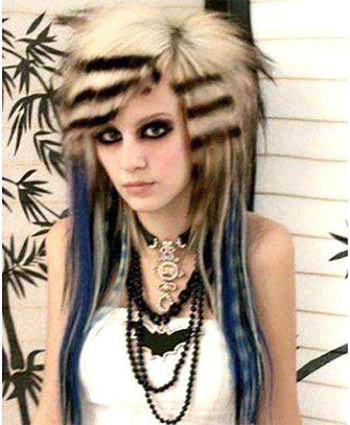 Layered Emo Hairdo With Striped Bangs