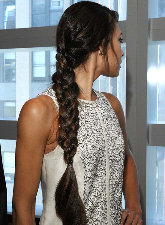 Long Four Strand Braid With Bangs And Spiral Ends