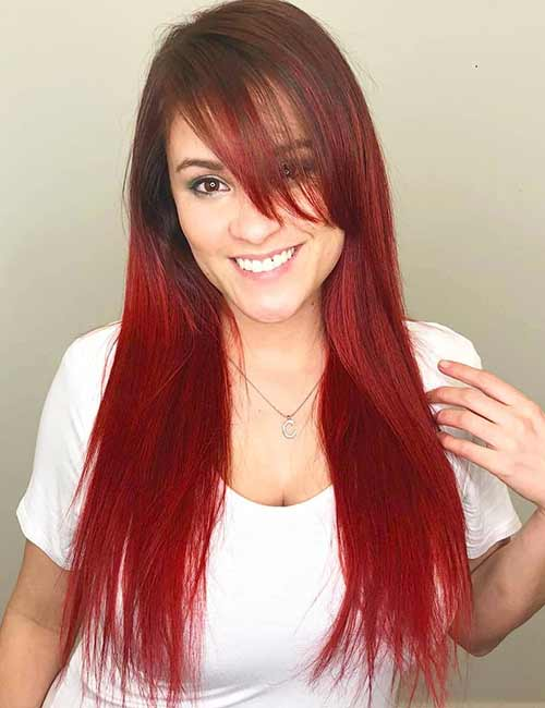 Long Straight Colored Hair With Bangs