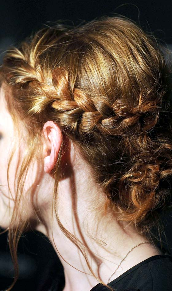Loose French Braid Side Bun