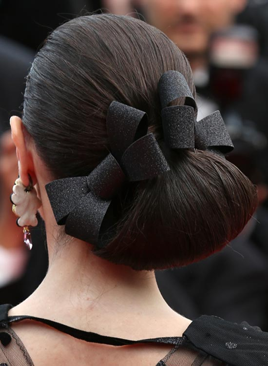 Low And Folded Side Bun With Bows