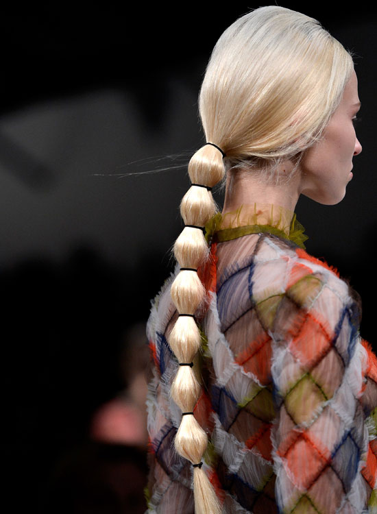 Low Segmented Ponytail on Long Straight Hair