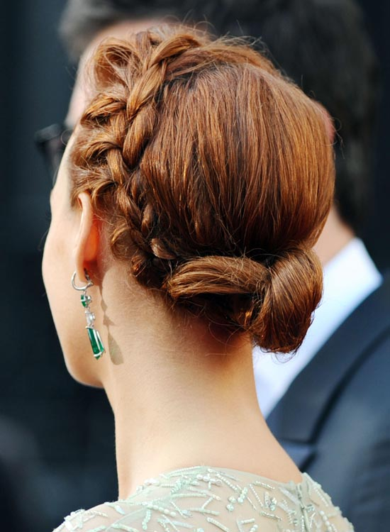 Low Twisted Side Bun With Side Braid