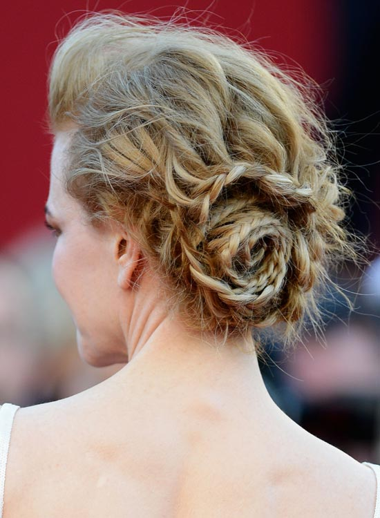 Messy Braided Rose Bun with Small Pouf