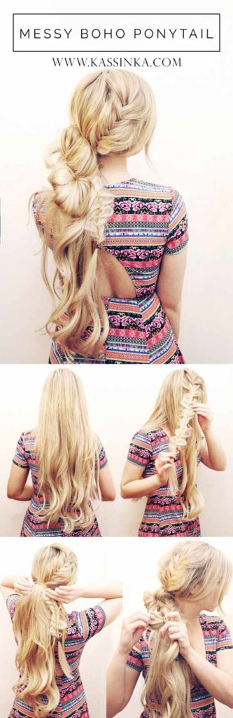 Messy Loose Boho Ponytail Hair