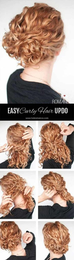 Messy Romantic Curly Hair Updo