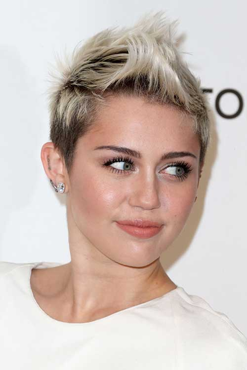 Miley Cyrus Short Blonde Spiked Hairstyle