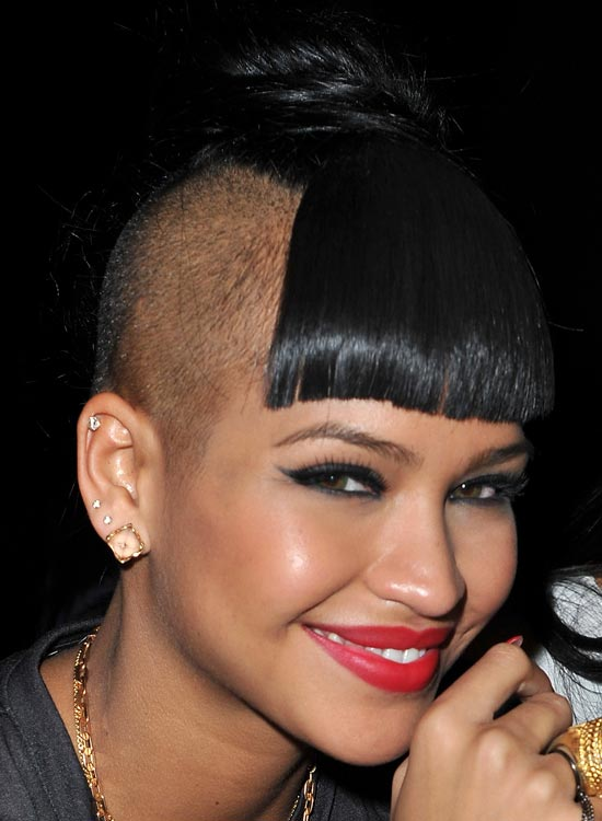 Partially Bald Hairstyle with Front Fringes and High Bun