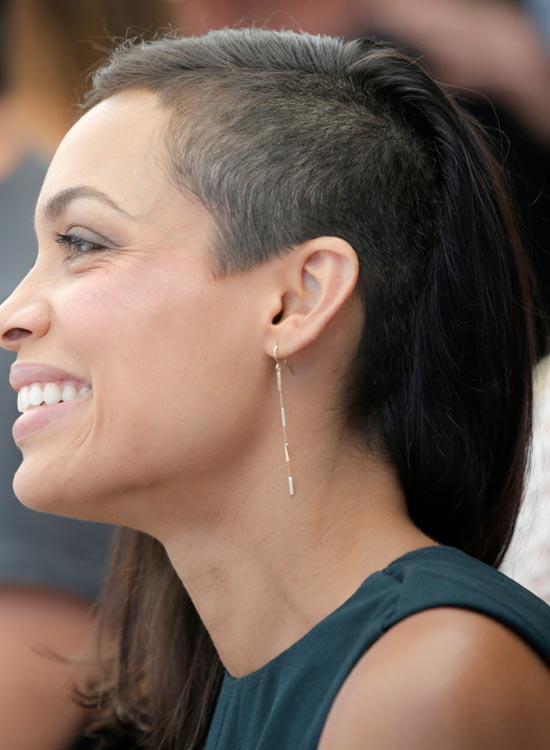 Partially Shaved Head with Long Black Hair