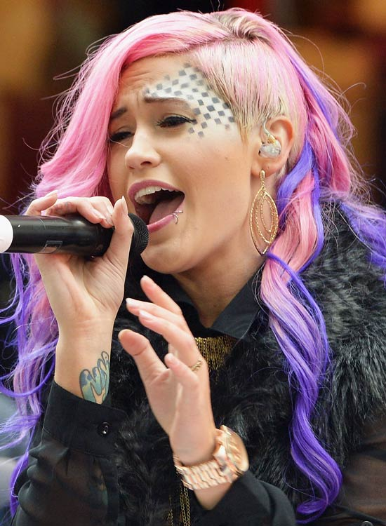 Pink Locks with Blue Highlights and Shaved Side
