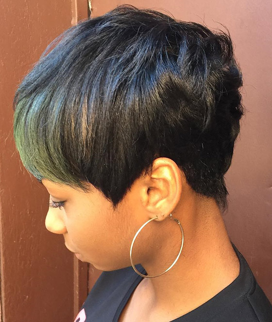 Pixie Bob With Olive Green Bangs