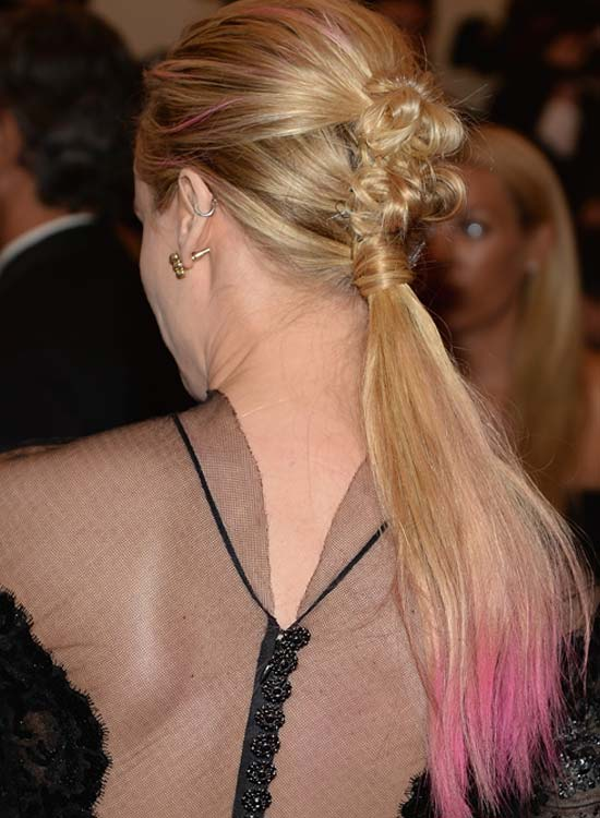 Ponytail With Twisted Bows And Pink Highlights