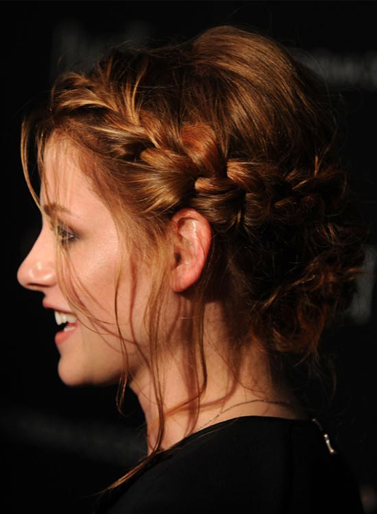 Puffy Low Hairdo With Braided Wraparound