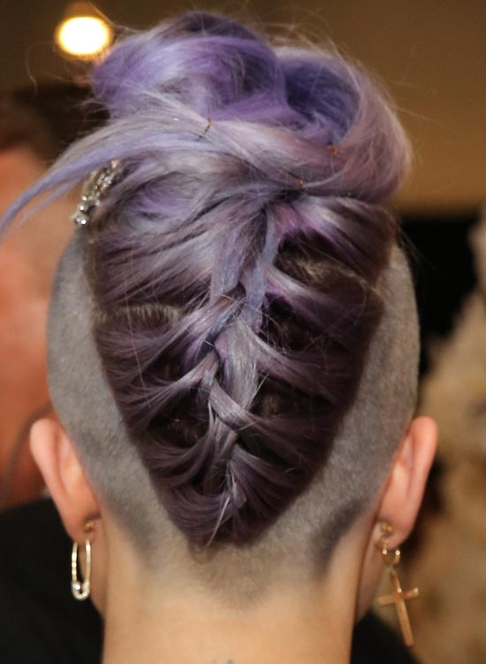 Purple Braided Updo on Almost Bald Head